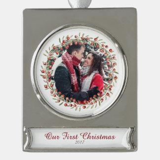 Gedenkverzierung des Weihnachtsbeeren-Kranz-| Banner-Ornament Silber