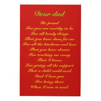 Gedicht für Vatertagstribut Vati Holzdruck