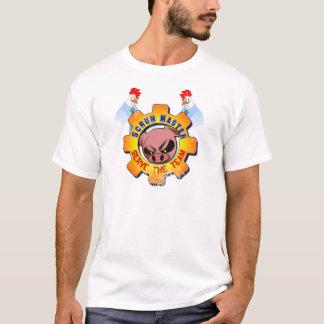 Gedränge-Meister mit Schwein und Hühner - dienen T-Shirt