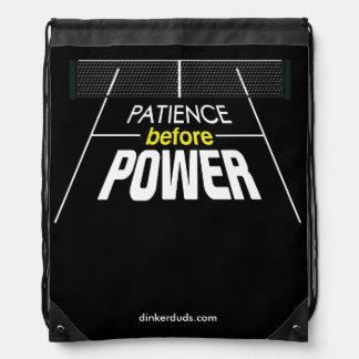 """""""Geduld vor Power"""" Pickleball Rucksack Turnbeutel"""