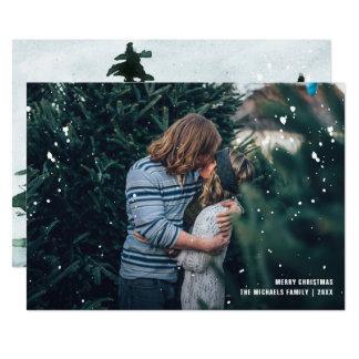 Geduscht mit Segen-rustikalem Foto-Weihnachten 12,7 X 17,8 Cm Einladungskarte