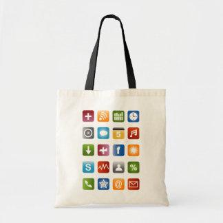 Geeky Hipster-Taschentasche mit smartphone Ikonen Tragetasche