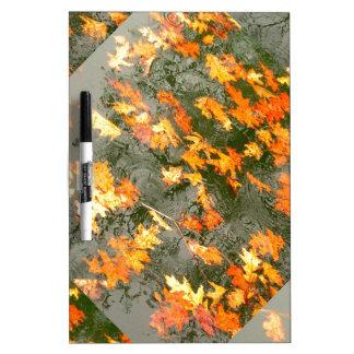 gefallenes Blätter im Regen Trockenlöschtafel
