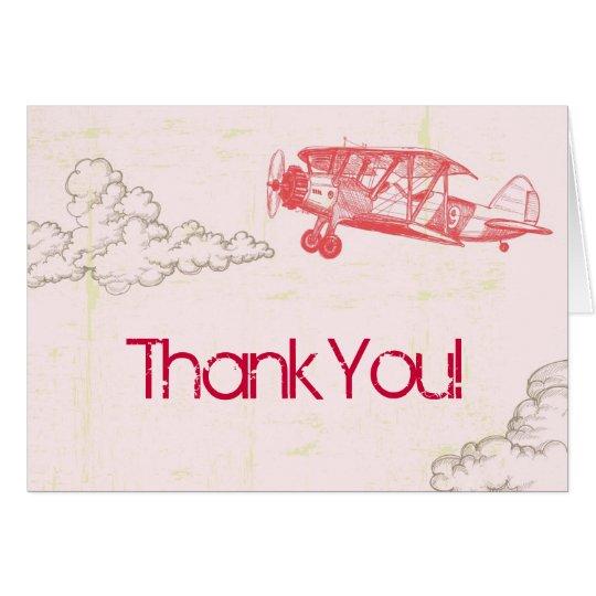 Gefaltet danke, Vintages Flugzeug in den Wolken zu Karte