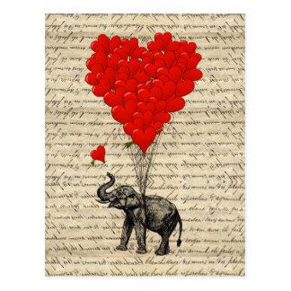 Geformte Ballone des Elefanten und des Herzens Postkarte