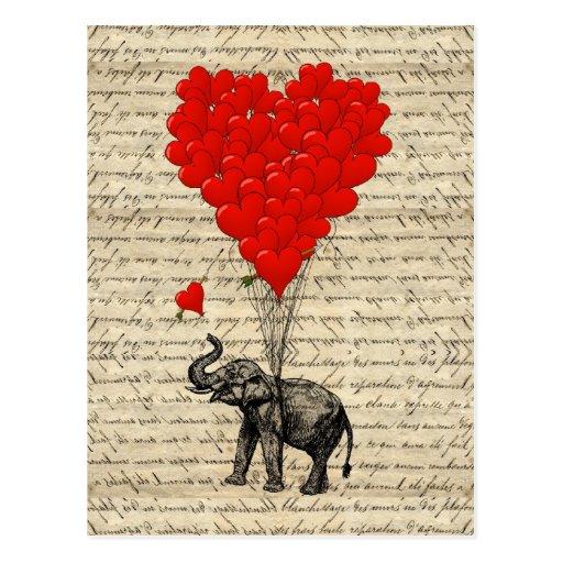 Geformte Ballone des Elefanten und des Herzens Postkarten