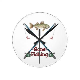 Gegangene fischenuhr runde wanduhr