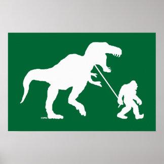 Gegangenes Squatchin mit T-rex Poster