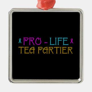 Gegen die Abtreibung Tee Partier Silbernes Ornament