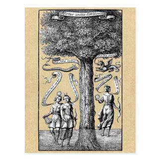 Gegenteile vereinigt durch Verbindung in der Postkarte