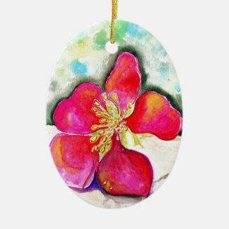 Geheimnis-rosa BlumeWatercolor Ovales Keramik Ornament