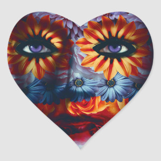 Geheimnisvolle Maske - Mystery Mask Herz-Aufkleber