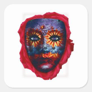 Geheimnisvolle Maske - Mystery Mask Quadratischer Aufkleber