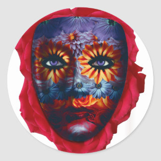 Geheimnisvolle Maske - Mystery Mask Runder Aufkleber