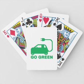 Gehen ~ Antriebs-elektrische Autos grüner Bicycle Spielkarten