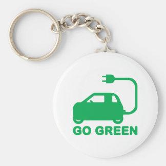 Gehen ~ Antriebs-elektrische Autos grüner Schlüsselanhänger