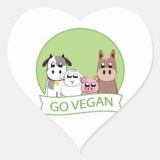 Gehen Sie vegan Herz-Aufkleber