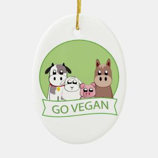 Gehen Sie vegan Keramik Ornament
