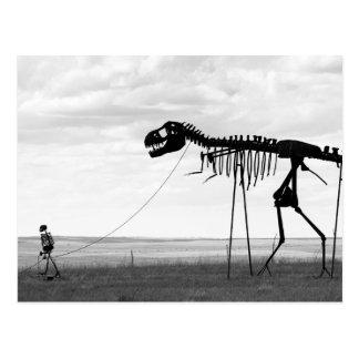 Gehender skeleton Dinosaurier des Skeleton Mannes, Postkarte
