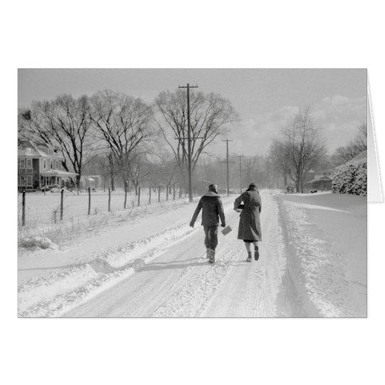 Gehendes Zuhause von School, 1940 Grußkarte