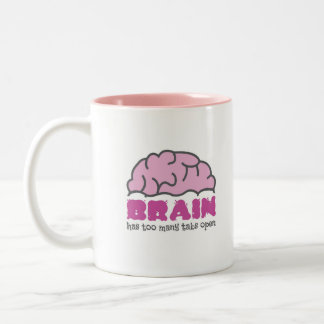 Gehirn hat zu viele offenen Vorsprünge Zweifarbige Tasse