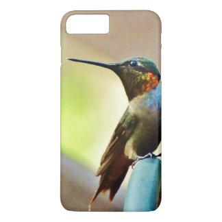 Gehockter karminroter und grüner kleiner Kolibri iPhone 8 Plus/7 Plus Hülle
