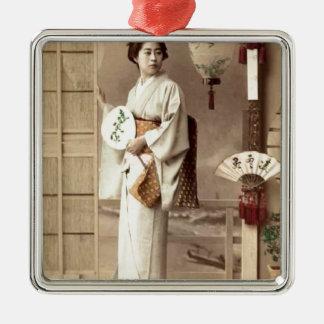 Geisha Silbernes Ornament