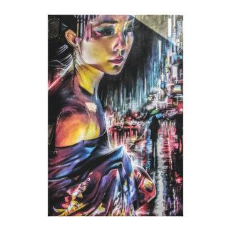 Geisha-Tokyo-Stadt-NachtLeinwand-Kunst Leinwanddruck