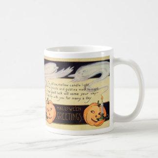 Geist-Kerzen-Kürbislaterne Vintages Halloween Kaffeetasse