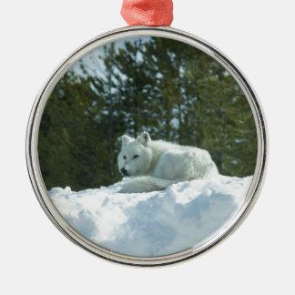 Geist-Wolf Rundes Silberfarbenes Ornament