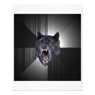Geisteskrankheits-Wolf-Ratetier Meme 11,4 X 14,2 Cm Flyer