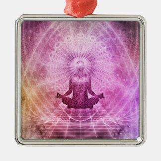Geistiger Yoga-Meditations-Zen bunt Silbernes Ornament