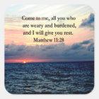GEISTIGES MATTHEW-11:28 QUADRATISCHER AUFKLEBER