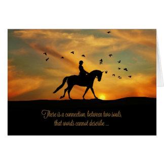 Geistiges PferdeBeileiddressage-Pferd und Reiter Grußkarte