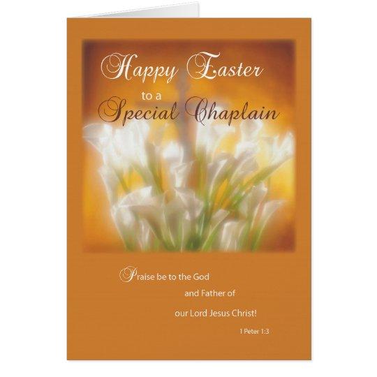 Geistlich-glückliche Osterlilien mit Kreuz Karte