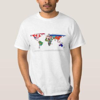 Gekennzeichnete Weltkarte der Flaggen der Welt T-Shirt