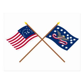 Gekreuzte Bennington- und Whisky-Aufstands-Flaggen Postkarten