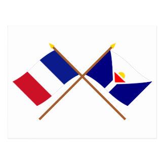Gekreuzte Flaggen von Frankreich und von St Martin Postkarte