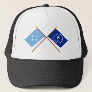 Gekreuzte Flaggen von Mikronesien und von Chuuk Truckerkappe