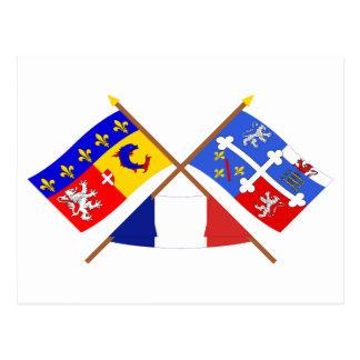 Gekreuzte Flaggen von Rhône Alpes und Ain Postkarte