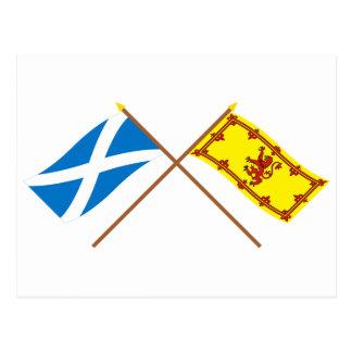 Gekreuzte Flaggen von Schottland Postkarte