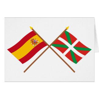 Gekreuzte Flaggen von Spanien und von País Vasco Karte