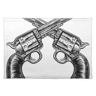 Gekreuzte Pistolen-Gewehr-Revolver-Vintage Tischset