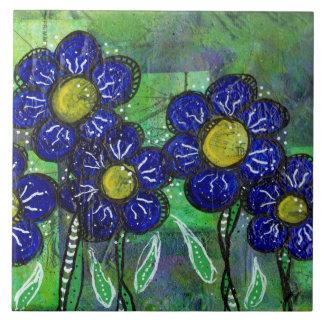 Gekritzel-blaue Ballon-Blume Fliese