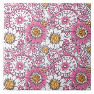 Gekritzel-Blumen Keramikfliese