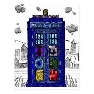 Gekritzel einer Polizei-Telefonzelle des blauen Postkarte