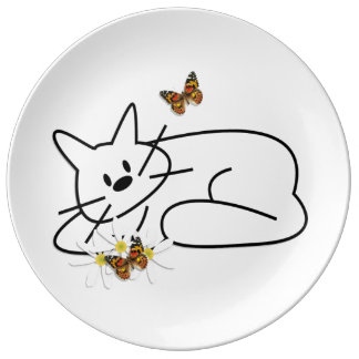 Gekritzel-Katzen Porzellanteller