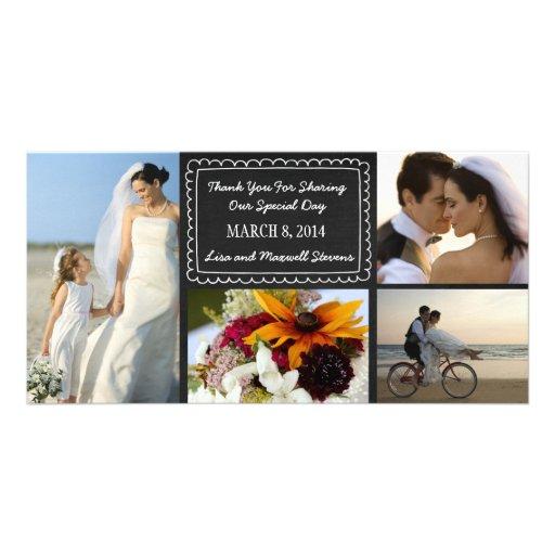Gekritzel-Tafel-Hochzeits-Foto danken Ihnen zu kar Individuelle Foto Karten