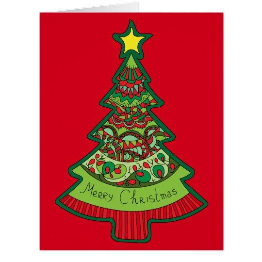 Gekritzel-Weihnachtsbaum Riesige Grußkarte