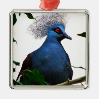 Gekrönte Taube Quadratisches Silberfarbenes Ornament